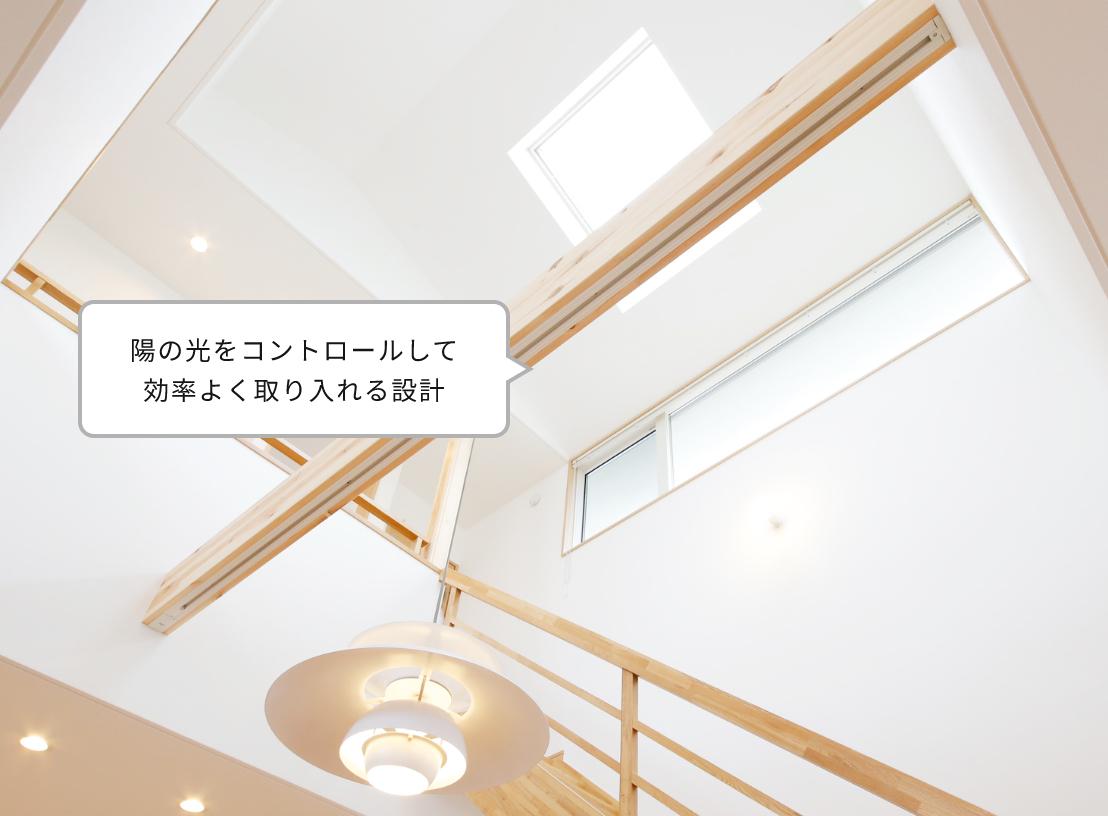陽の光をコントロールして効率よく取り入れる設計