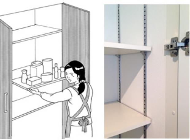 棚板の移動に苦労するようでは、可動棚とは言えません。