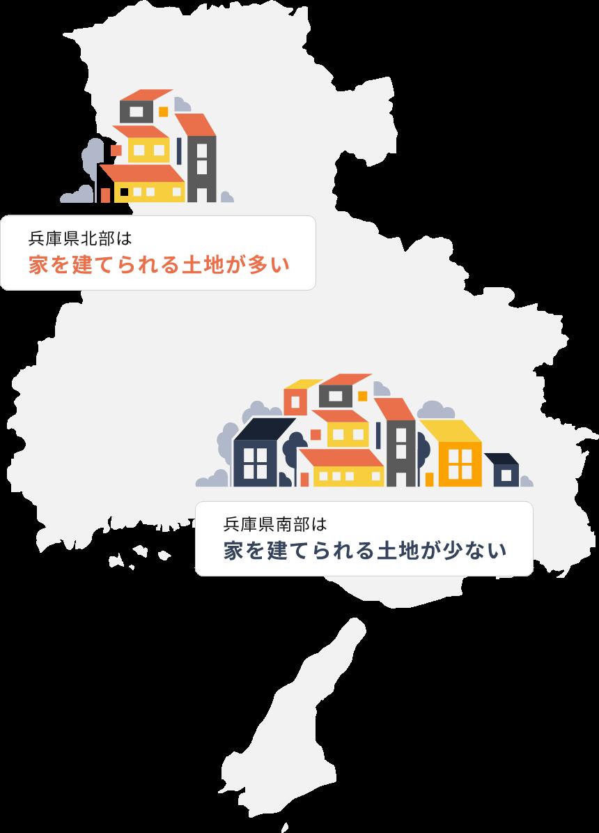 兵庫県北部は家を建てられる土地が多い。兵庫県南部は家を建てられる土地が少ない